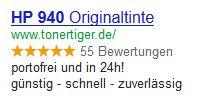 Adwords Anzeige HP 940xl Tonertiger.de