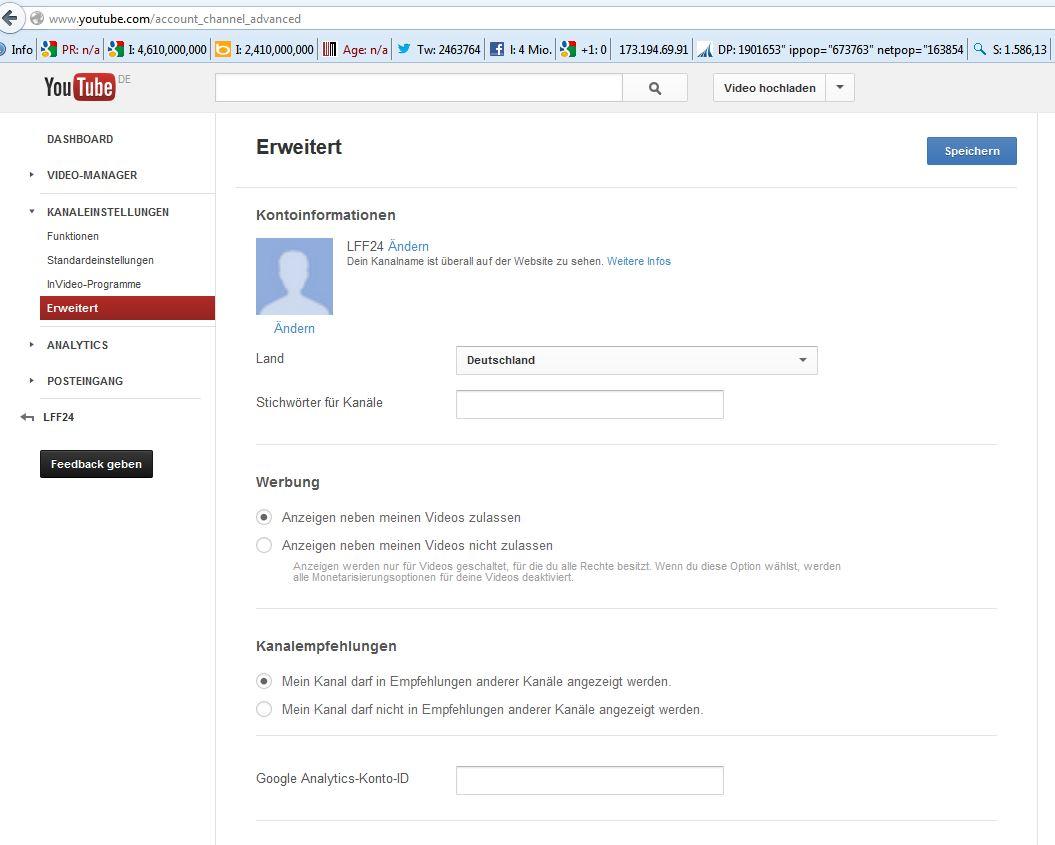Screenshot der Seite für die Youtube Kanal Ländereinstellung