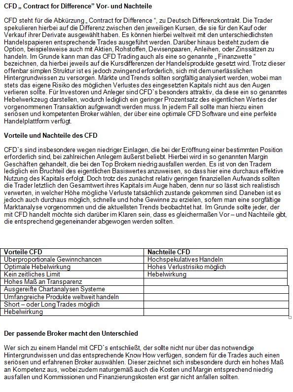 Text Vor- und Nachteile CFD